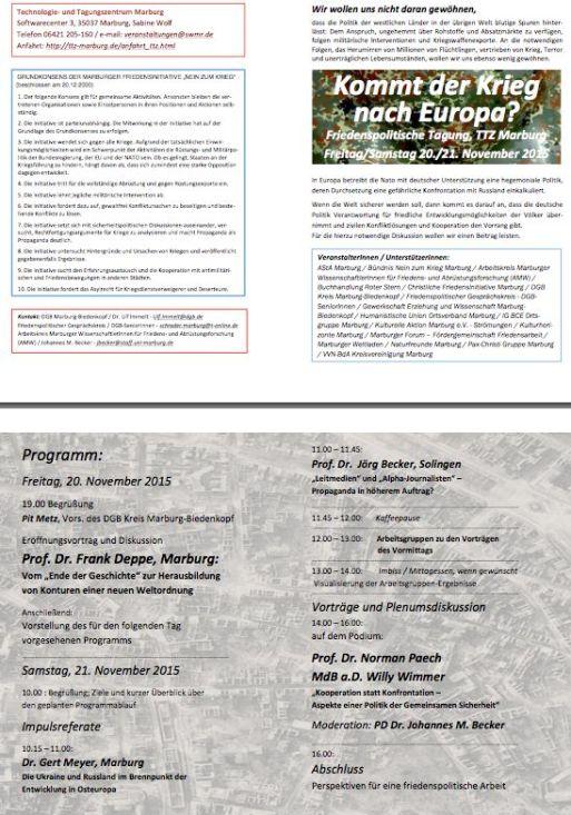 2011 11 20 - 21 Kommt der Krieg nach Europa Flyer